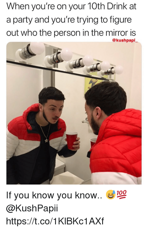 Party, Mirror, and Who: When you re on your TOth Drink at  a party and you're trying to figure  out who the person in the mirror is  @kushpapi If you know you know.. 😅💯 @KushPapii https://t.co/1KlBKc1AXf