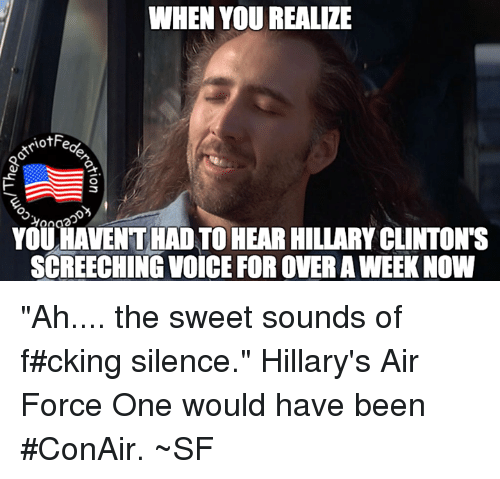 "air force one: WHEN YOU REALIZE  3  YOUHAVENTHAD TO HEAR HILLARY CLINTONTS  SCREECHING VOICE FOR OVERAWEEKNOW ""Ah.... the sweet sounds of f#cking silence."" Hillary's Air Force One would have been #ConAir. ~SF"