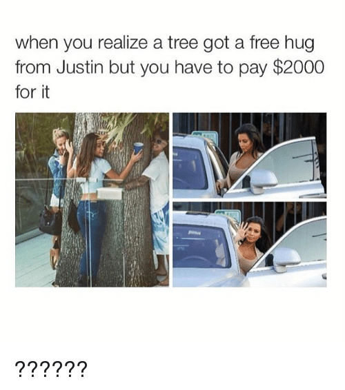 free hug: when you realize a tree got a free hug  from Justin but you have to pay $2000  for it ??????