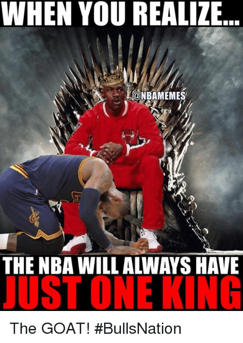 Nba, Goat, and King: WHEN YOU REALIZE...  @NBAMEMES  THE NBA WILL ALWAYS HAVE  JUST ONE KING The GOAT! #BullsNation