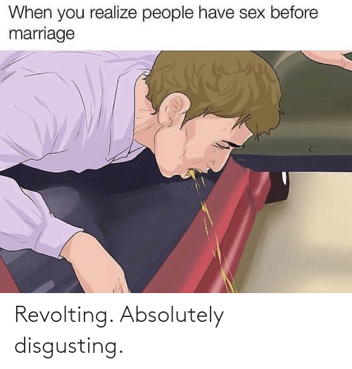 disgusting: When you realize people have sex before  marriage Revolting. Absolutely disgusting.
