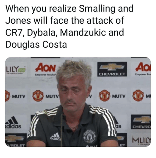Adidas, Memes, and Douglas Costa: When you realize Smalling and  Jones will face the attack of  CR7, Dybala, Mandzukic and  Douglas Costa  Ao  Empower Results  CHEVROLE  Empower Res  MUTV  MUTV  MUTV  didas  CHEVRO  MLIL  adidas