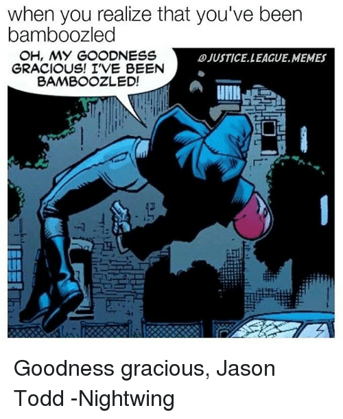 Memes, Justice League, and Been: when you realize that you've been  bamboozled  OH, MY GOODNESS  OJUSTICELLEAGUE MEMES  GRACIOUS! I'VE BEEN  BAMBOOZLED! Goodness gracious, Jason Todd -Nightwing