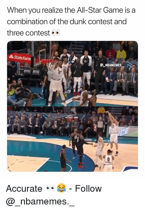 All Star Game: When you realize the All-Star Game is a  combination of the dunk contest and  three contest  AStateFa  C NBAMEMES Accurate 👀😂 - Follow @_nbamemes._