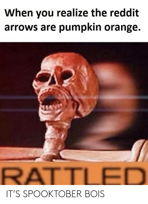 Reddit, Orange, and Pumpkin: When you realize the reddit  arrows are pumpkin orange.  RATTLED IT'S SPOOKTOBER BOIS
