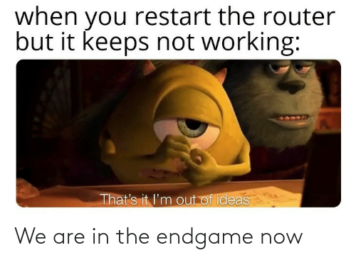 restart: when you restart the router  but it keeps not working:  That's it l'm out of ideas We are in the endgame now