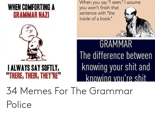 """Grammar Police Meme: When you say """"I seen,"""" I assume  you won't finish that  sentence with the  inside of a book""""  WHEN COMFORTING A  GRAMMAR NAZ  The difference between  knowing your shit and  knowing vou're shit  ALWAYS SAY SOFTLY,  """"THERE, THEIR, THEY RE""""  35 34 Memes For The Grammar Police"""