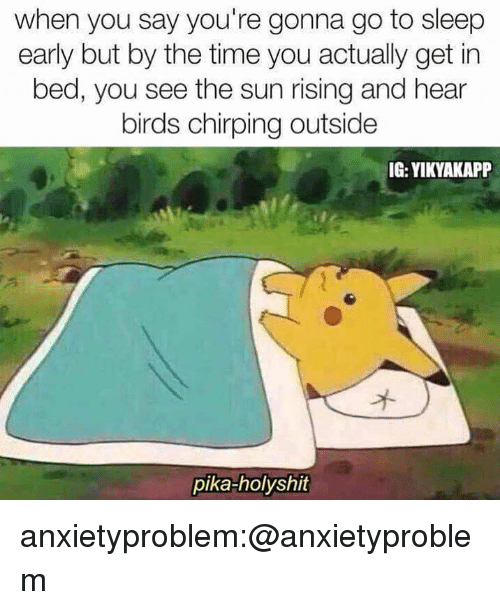 Go to Sleep, Target, and Tumblr: when you say you're gonna go to sleep  early but by the time you actually get in  bed, you see the sun rising and hear  birds chirping outside  IG: YIKYAKAPP  pika-holyshit anxietyproblem:@anxietyproblem