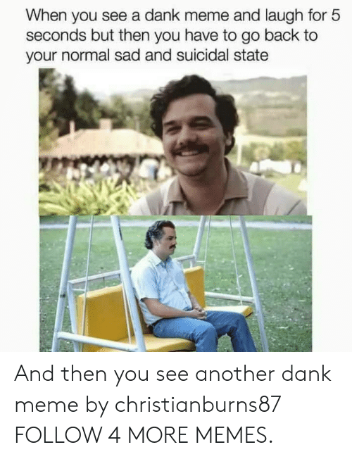 A Dank: When you see a dank meme and laugh for 5  seconds but then you have to go back to  your normal sad and suicidal state And then you see another dank meme by christianburns87 FOLLOW 4 MORE MEMES.