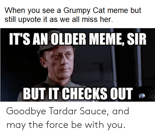 Tardar Sauce: When you see a Grumpy Cat meme but  still upvote it as we all miss her.  ITS AN OLDER MEME, SIR  BUT IT CHECKS OUT Goodbye Tardar Sauce, and may the force be with you.