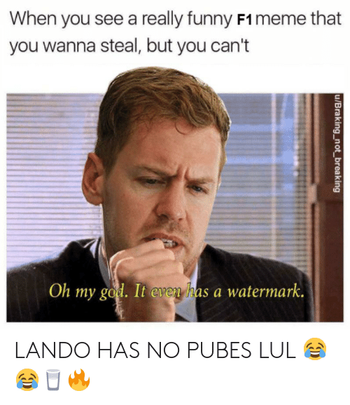 When You See A Really Funny F1 Meme That You Wanna Steal But You Can T Oh My God It Even Has A Watermark Ubraking Not Breaking Lando Has No Pubes Lul Funny