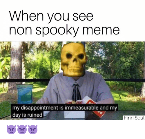 Finn: When you see  non spooky meme  my disappointment is immeasurable and my  day is ruined  Finn Soul 👿👿👿