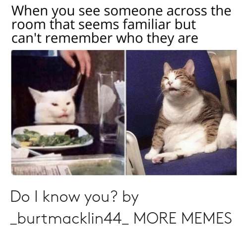 Dank, Memes, and Target: When you see someone across the  room that seems familiar but  can't remember who they Do I know you? by _burtmacklin44_ MORE MEMES