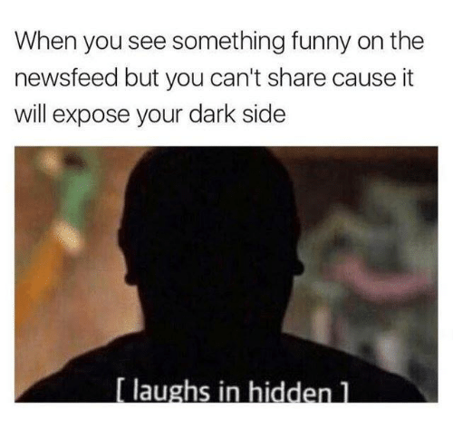 Funny, Hidden, and Dark: When you see something funny on the  newsfeed but you can't share cause it  will expose your dark side  aughs in hidden 1