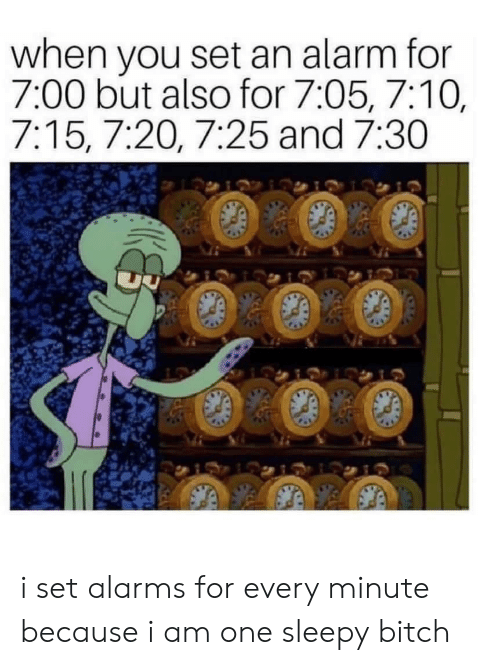 I Am One: when you set an alarm for  7:00 but also for 7:05, 7:10,  7:15, 7:20, 7:25 and 7:30 i set alarms for every minute because i am one sleepy bitch