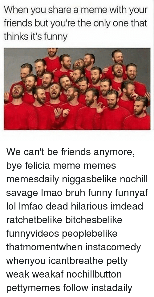 Felicia Meme: When you share a meme with your  friends but you're the only one that  thinks it's funny We can't be friends anymore, bye felicia meme memes memesdaily niggasbelike nochill savage lmao bruh funny funnyaf lol lmfao dead hilarious imdead ratchetbelike bitchesbelike funnyvideos peoplebelike thatmomentwhen instacomedy whenyou icantbreathe petty weak weakaf nochillbutton pettymemes follow instadaily