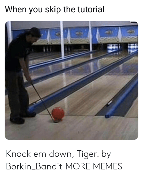 Dank, Memes, and Target: When you skip the tutorial Knock em down, Tiger. by Borkin_Bandit MORE MEMES
