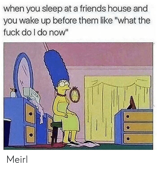 "Friends, House, and Sleep: when you sleep at a friends house and  you wake up before them like ""what the  fuck do I do now"" Meirl"