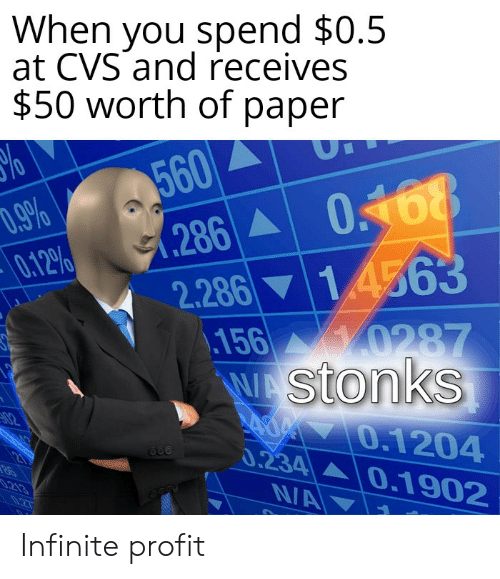 Reddit, Cvs, and Infinite: When you spend $0.5  at CVS and receives  $50 worth of paper  560  .286 0168  1.4563  ,.9%  0.12%  2.286  156 0287  WAStonks  AOM 0.1204  0.234 0.1902  N/A  02  213 Infinite profit