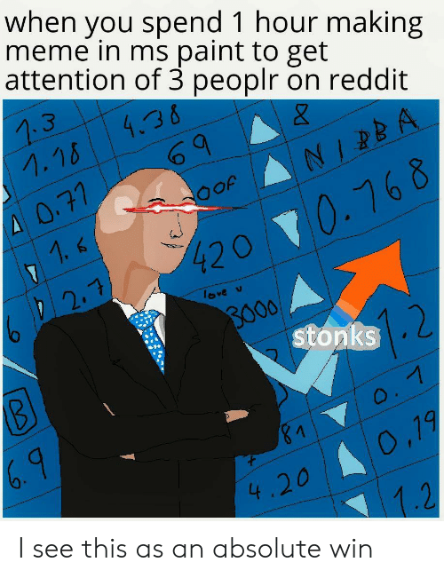 Love, Meme, and Reddit: when you spend 1 hour making  meme in ms paint to get  attention of 3 peoplr on reddit  4.36  1.18  A 0.77  JO아  71.6  4200.168  D 2.7  love v  BO00  stonks  2  0.7  &1  0,19  4.20  1.2 I see this as an absolute win