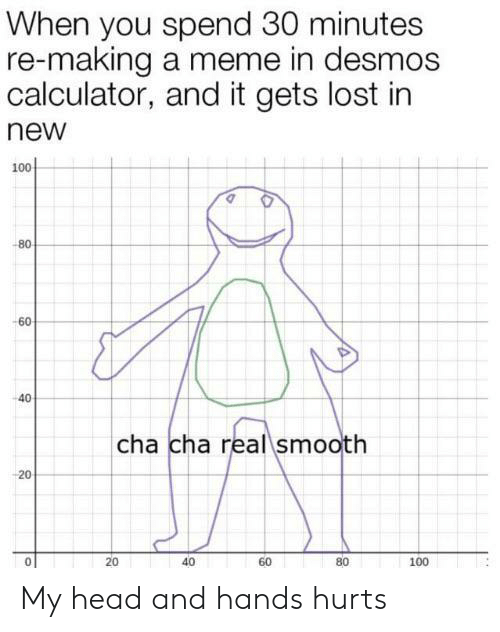cha: When you spend 30 minutes  re-making a meme in desmos  calculator, and it gets lost in  new  100  -80  -60  40  cha cha real smooth  20  40  80  60  100  20 My head and hands hurts