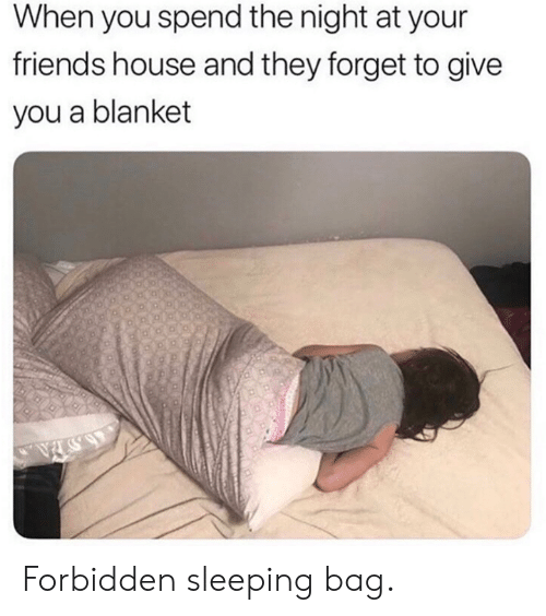 Dank, Friends, and House: When you spend the night at your  friends house and they forget to give  you a blanket Forbidden sleeping bag.