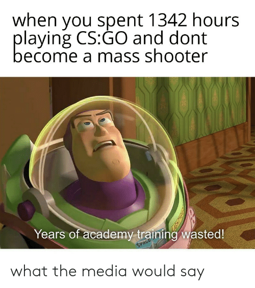 Academy, Cs Go, and Media: when you spent 1342 hours  playing CS:GO and dont  become a mass shooter  Years of academy training wasted!  SPRCE what the media would say