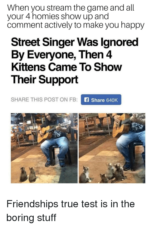The Game, True, and Game: When you stream the game and all  your 4 homies show up and  comment actively to make you happy  Street Singer Was lgnored  By Everyone, Then 4  Kittens Came To Show  Their Support  SHARE THIS POST ON FB  Share 640K Friendships true test is in the boring stuff