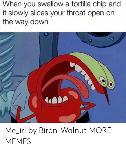 throat: When you swallow a tortilla chip and  it slowly slices your throat open on  the way down Me_irl by Biron-Walnut MORE MEMES