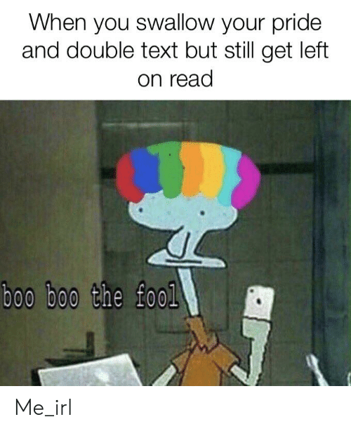 Boo, Text, and Irl: When you swallow your pride  and double text but still get left  on read  boo boo the fool Me_irl