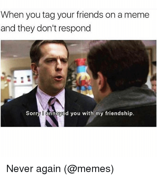 meming: When you tag your friends on a meme  and they don't respond  Sorry annoyed you with my friendship. Never again (@memes)