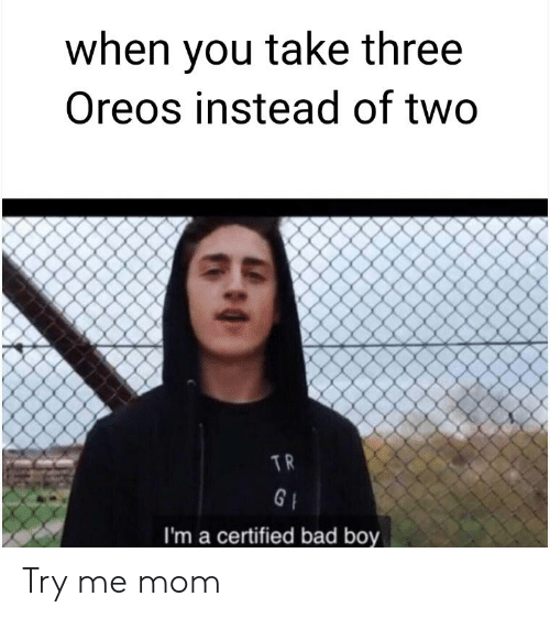 Bad, Reddit, and Try Me: when you take three  Oreos instead of two  I'm a certified bad boy Try me mom