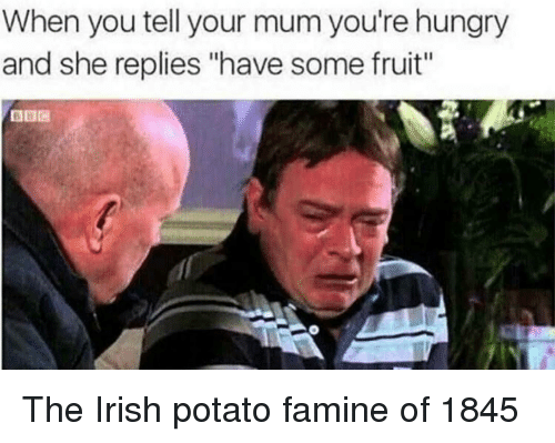 "Hungry, Irish, and Potato: When you tell your mum you're hungry  and she replies ""have some fruit"" The Irish potato famine of 1845"