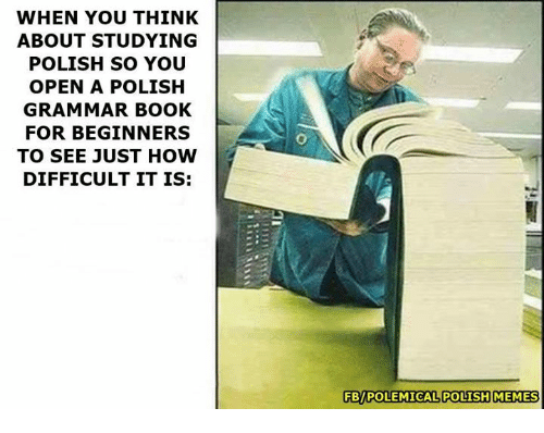 Polish Meme: WHEN YOU THINK  ABOUT STUDYING  POLISH SO YOU  OPEN A POLISH  GRAMMAR BOOK  FOR BEGINNERS  TO SEE JUST HOW  DIFFICULT IT IS:  FBPOLEMICAL POLISH MEMES