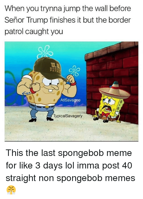 Lol, Meme, and Memes: When you trynna jump the wall before  Senor Trump finishes it but the border  patrol caught you  BORDA  PATRO  AtlSavagee  Typical Savagery This the last spongebob meme for like 3 days lol imma post 40 straight non spongebob memes 😤