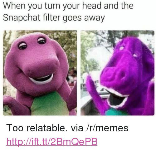 """Snapchat Filter: When you turn your head and the  Snapchat filter goes away <p>Too relatable. via /r/memes <a href=""""http://ift.tt/2BmQePB"""">http://ift.tt/2BmQePB</a></p>"""