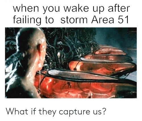 failing: when you wake up after  failing to storm Area 51 What if they capture us?