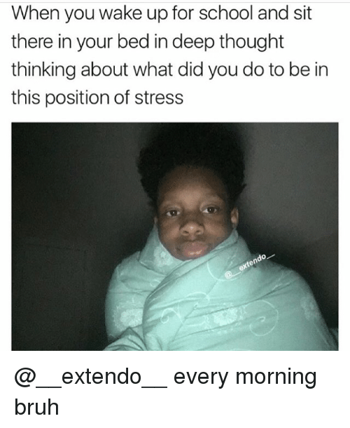 Bruh, Memes, and School: When you wake up for school and sit  there in your bed in deep thought  thinking about what did you do to be in  this position of stress  do @__extendo__ every morning bruh