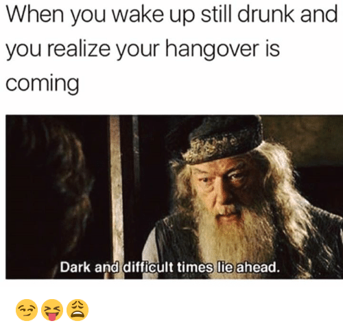 Drunk, Hangover, and Dark: When you wake up still drunk and  you realize your hangover is  coming  Dark and difficult times lie ahead. 😏😝😩