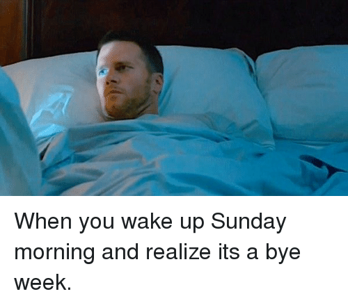 Bye Week: When you wake up Sunday morning and realize its a bye week.