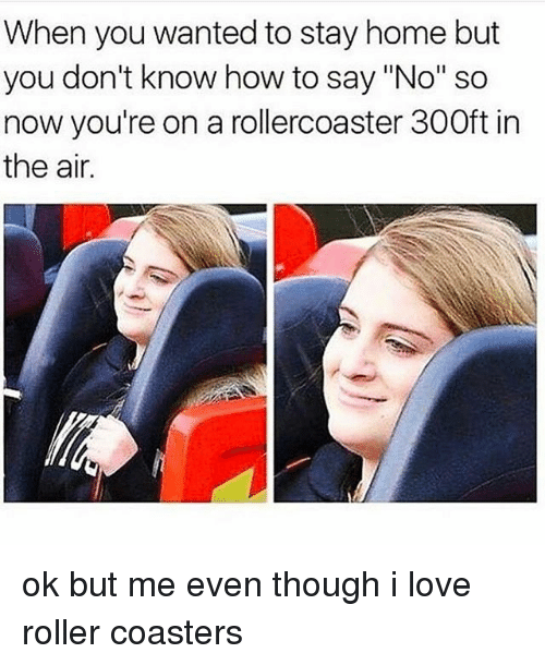 """Rollers: When you wanted to stay home but  you don't know how to say """"No"""" so  now you're on a rollercoaster 300ft in  the air. ok but me even though i love roller coasters"""