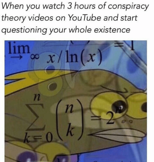 Conspiracy Theory: When you watch 3 hours of conspiracy  theory videos on YouTube and start  questioning your whole existence  limx/n(x)  7n
