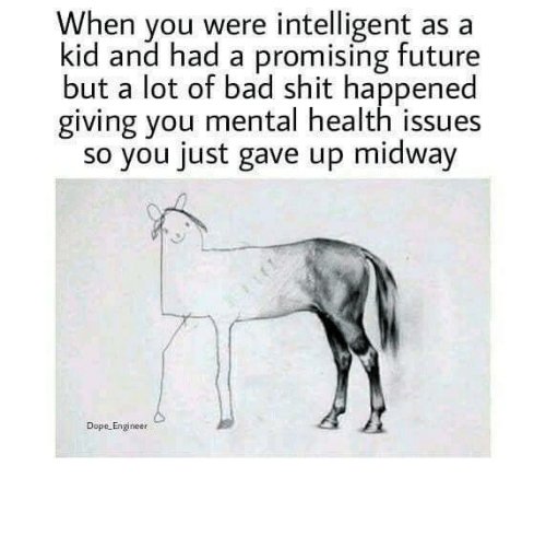 Promising: When you were intelligent as a  kid and had a promising future  but a lot of bad shit happened  giving you mental health issues  so you just gave up midway  Dope Engineer