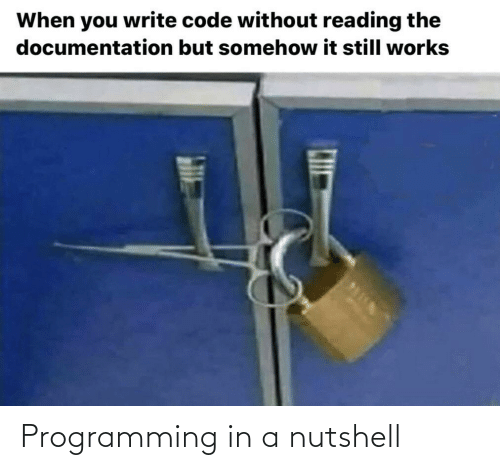 Somehow: When you write code without reading the  documentation but somehow it still works Programming in a nutshell