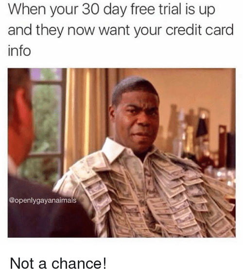 credit-card-info: When your 30 day free trial is up  and they now want your credit card  info  @openly gay anaimals Not a chance!
