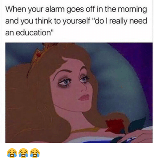 """When Your Alarm Goes Off: When your alarm goes off in the morning  and you think to yourself """"do I really need  an education"""" 😂😂😂"""