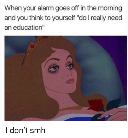 """When Your Alarm Goes Off: When your alarm goes off in the morning  and you think to yourself """"do I really need  an education"""" I don't smh"""