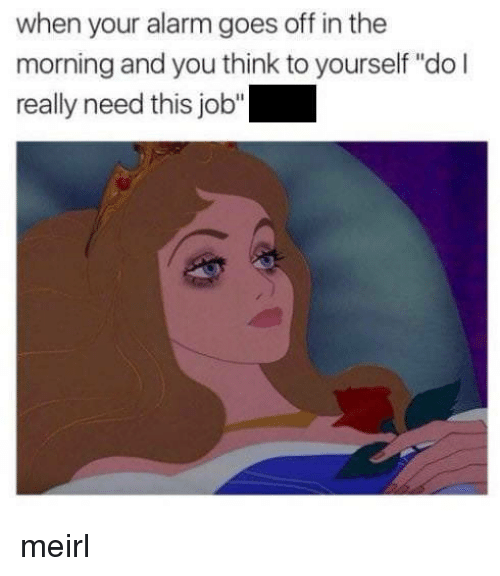 """When Your Alarm Goes Off: when your alarm goes off in the  morning and you think to yourself """"do l  really need this job"""" meirl"""