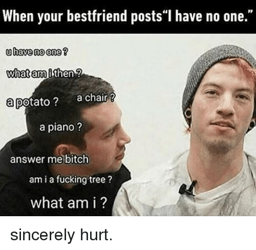 """Bitch, Dank, and Fucking: When your bestfriend posts""""I have no one.""""  uhave no one ?  what am  a potato ?  then  a chair?  a piano ?  answer me bitch  am i a fucking tree?  what am i ? sincerely hurt."""