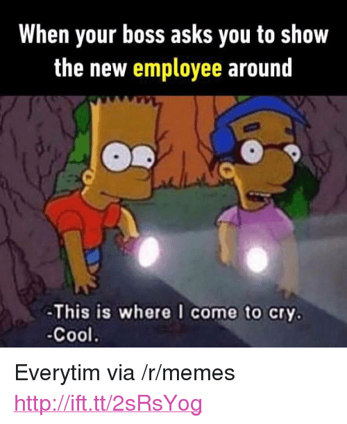 "Everytim: When your boss asks you to show  the new employee around  -This is where I come to cry.  -Cool. <p>Everytim via /r/memes <a href=""http://ift.tt/2sRsYog"">http://ift.tt/2sRsYog</a></p>"